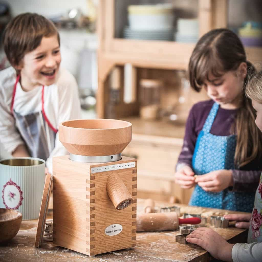 Kids Baking With Komo Classic Grain Mill