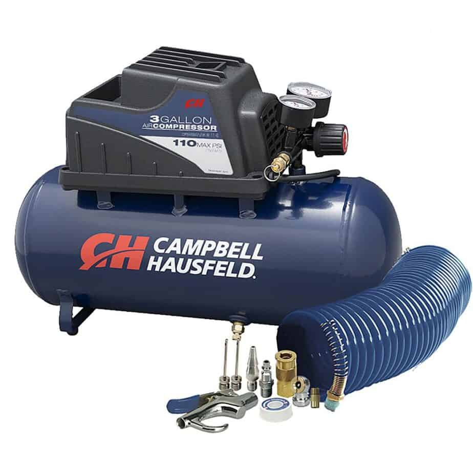 Air Compressor, Portable, 3 Gallon Horizontal, Oilless, w/ 10 Piece Accessory Kit Including Air Hose & Inflation Gun best garage air compressor